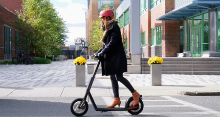riding with electric scooter